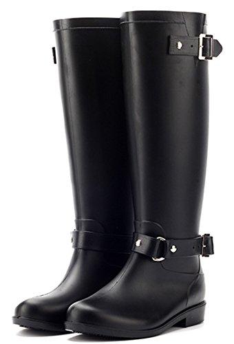 IDIFU Womens Comfy Buckle Round Toe Waterproof Tall Rain Boots With Zipper Black 2 5TyemH