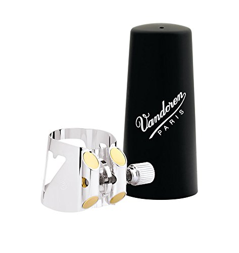 Vandoren LC01P Optimum Ligature and Plastic Cap for Bb Clarinet Silver Plated with 3 Interchangeable Pressure - Silver Plate Tone
