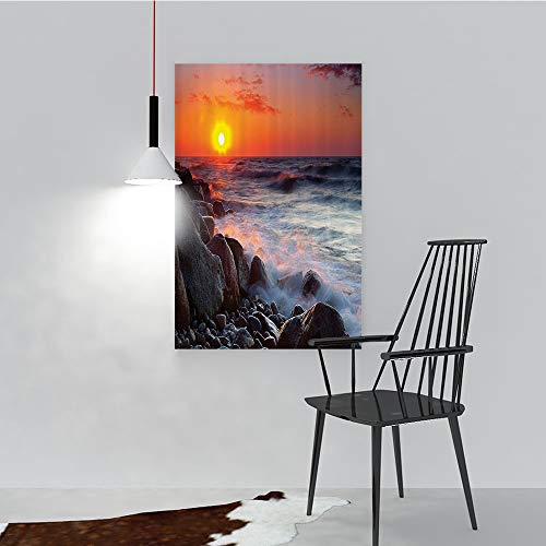 Philip C. Williams Paintings of Decorative Frameless Pebble ACH with Waves Horiz Summer Dawn Sun Down Landscape Restaurant Bedroom Painting W16 x H24
