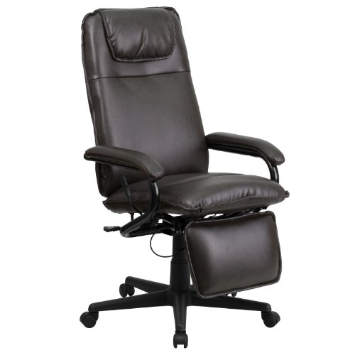 Flash Furniture High Back Brown Leather Executive Reclining Swivel Chair with Arms