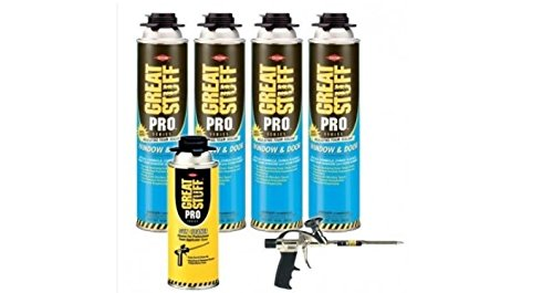 Dow Great Stuff Pro Window and Door 20oz Foam (4 cans) & Pro 14 & Gun Cleaner - 187273 by Dow Great Stuff