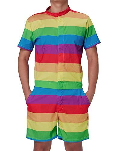 uideazone Men Printed Stripes Gay Pride One Piece Jumpsuit Zip Short Sleeve Pants Rompers ()