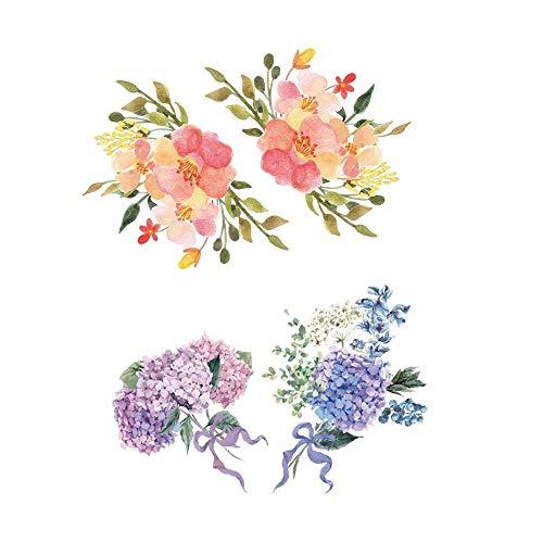 Runtoo Pink Rose Wall Decals Lavender Fl...