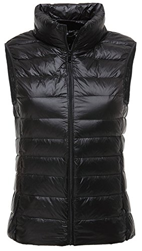 LANBAOSI Women's Packable Lightweight Down Vest Winter Puffer Vest, Black, Medium, XL