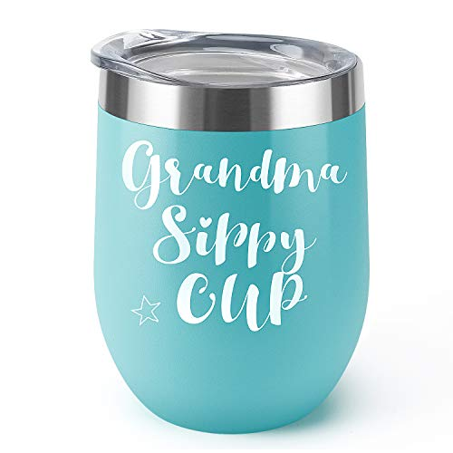 Grandma's Sippy Cup|Supkiir 12 oz Wine Tumbler, Blue Double Wall Vacuum Insulated Wine Glasses with Lid, Stainless Steel Cup for Wine,Coffee,Cocktails,Ice Cream|Perfect Mother's Day, Christmas ()