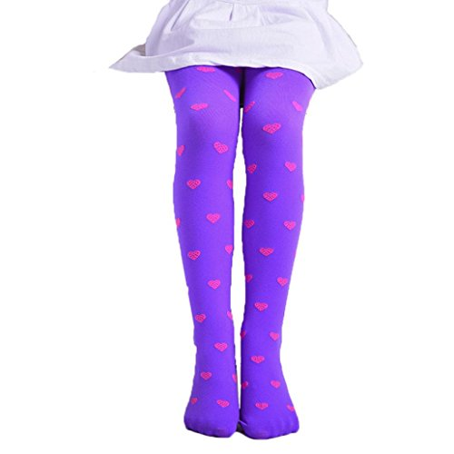 Hongxin Child Girls Footed Heart Dots Tights Stockings Ballet Candy Colors Opaque Tight Stocking Elastic Pantyhose (Purple)