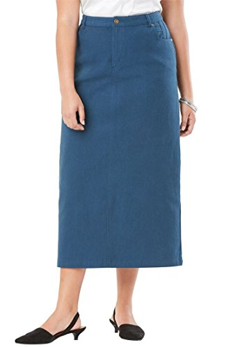 Long Khaki - Jessica London Women's Plus Size Classic Cotton Denim Long Skirt New Khaki,28
