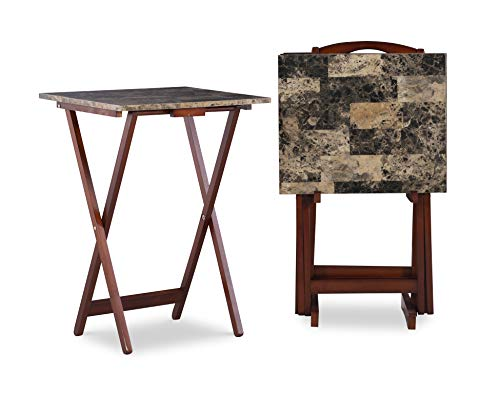 Linon Home Decor Tray Table Set, Faux Marble, Brown (Set Trays Of Tv)