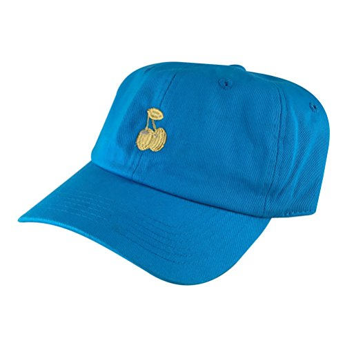 Cherry Unstructured Strapback Hat Cap by Caprobot - Aqua Tea