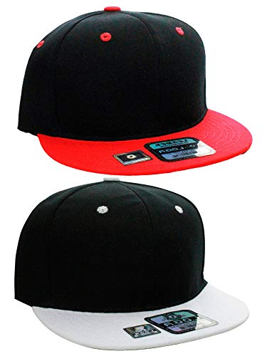 L.O.G.A Plain Flat Bill Visor Blank Snapback Hat Cap with Adjustable Snaps - 2 Pk - Bk/Wh, Bk/Red
