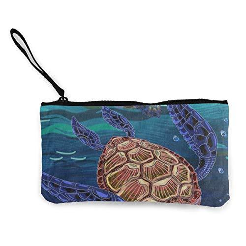 Canvas Coin Purse Turtle Swim In The Sea Customs Zipper Pouch Wallet For Cash Bank Car Passport