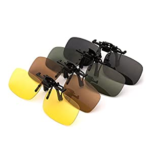 Punasi 4-Pack Polarized Clip-on Plastic Sunglasses Lenses for Outdoor Walking Driving Fishing Cycling - (Night vision Yellow + Grey + Dark Brown + Dark Green) - (Small Size)