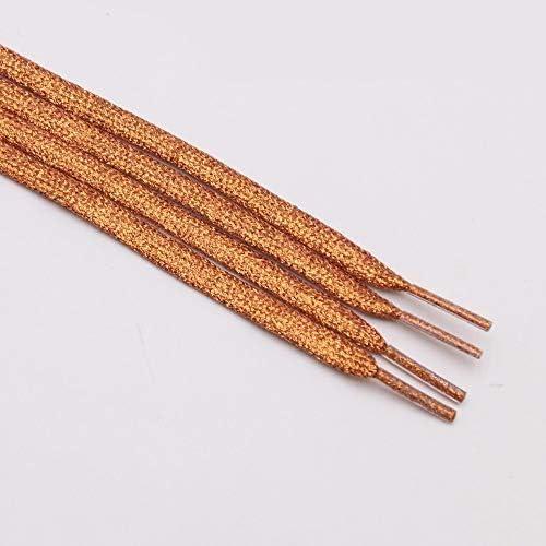 JWJY グリッター靴ひもシャイニーファッションキラキラ靴ひもクリスマスカラーのシックなきらめく7ミリメートルメタリックBootlaces (Color : 2363 Orange, Length : 60cm)