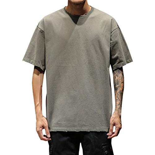 Mens Casual Crew Neck Tee Solid Loose Short Sleeve Heavyweight T-Shirt Performance Sport Top Gray