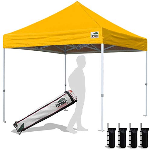 Eurmax 10'x10'Pop Up Canopy Tent Commercial Canopies with Heavy Duty Roller Bag,Bouns 4 Sandbags Weight(Gold)