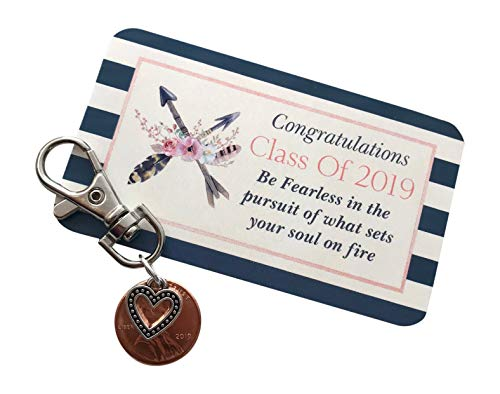 Penny Key - Pack of 3 Graduation 2019 Penny Key Chains Graduation Gift for her Class of 2019 for Friends Packaged and Ready to Give Graduation Keychain Bulk