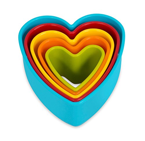 Internet's Best Heart Cookie Cutter | Set of 5 | Heart Shaped Biscuit Sandwich Fondant Cutter Set | Multi Size and Color | Kid Friendly