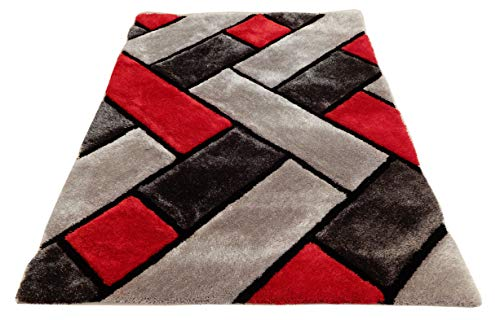 3D Contemporary Super Soft Polyester Fiber Area Shaggy Rugs for Living Room Bedroom Rug Mats Home Decor (5 x 7, Black/Red)