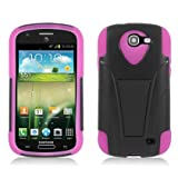 Aimo SAMI437PCMSK005S Durable Rugged Hybrid Case for Samsung Galaxy Express i437 - 1 Pack - Retail Packaging - Black/Hot Pink