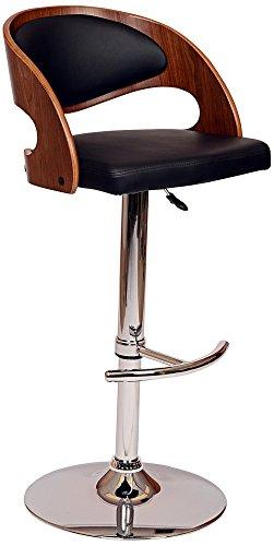 Malibu Black Faux Leather Adjustable Swivel Bar Stool