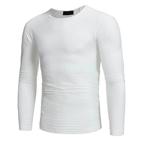 T Fit Slim À V Automne Chemise Homme Manches Longues Lonupazz shirt Sweater Pull Hiver Blanc1 neck dOqw7Bd