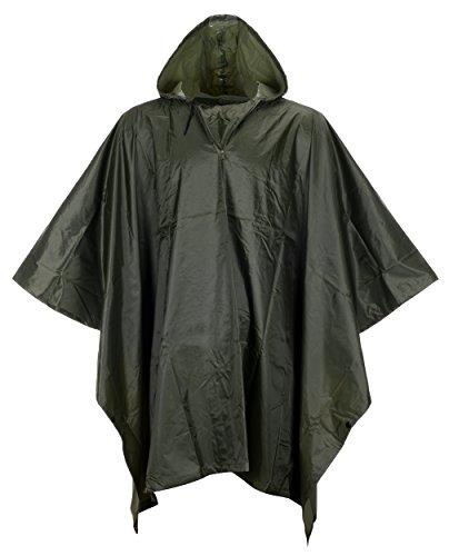 Raincoat Mens Camouflage (QZUnique Men Lightweight Outdoor Ripstop Waterproof Packable Travel Rain Poncho Camouflage Raincoat with Hood Pattern 6)