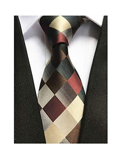 - Classic Designer Plaid Ties Checks Brwon Grey Necktie Holiday Gifts for Men Boys
