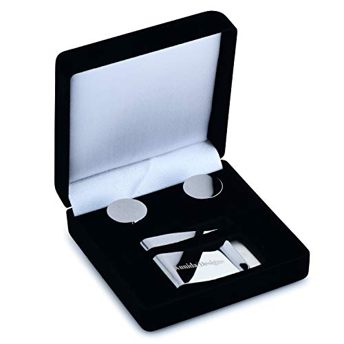 Kunida Designs - Titanium Mens Cuff Links and Stainless Steel Tie Bar and Money Clip Set for Men with Premium Gift ()