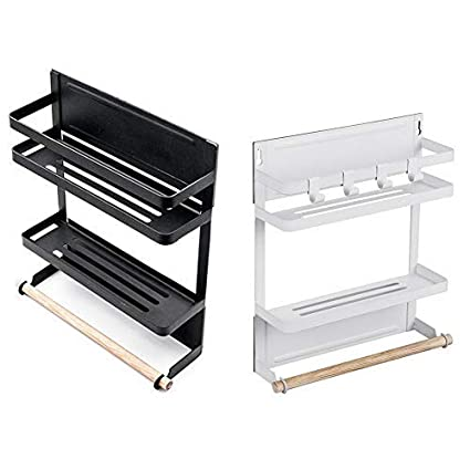 SUPERERM Mensola da Cucina Magnetica Scaffale Cucina 26 x 8 x 31,5 cm Porta Spezie Frigo capacit/à di Carico: 5 kg Bianco