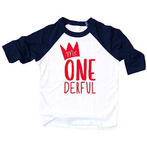 Mr One-Derful Baseball Tee Shirt for Boys 1st Birthday ()