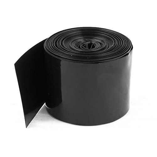 uxcell® 50mm/30mm PVC Heat Shrink Tubing Black 5m 16.4ft for 2 x 18650 Battery