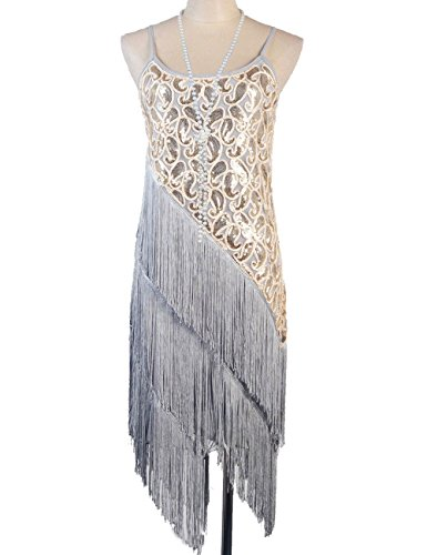 PrettyGuide Women's 1920S Paisley Art Deco Sequin Tassel Glam Party Gatsby Dress (M, Gray)