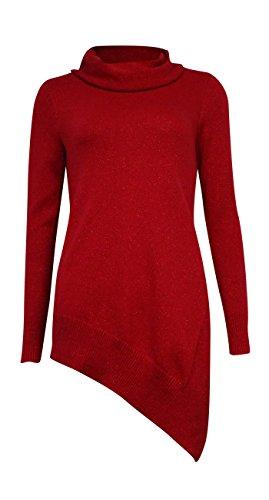 Alfani Women's Asymmetrical Cowl Neck Sweater (0X, Red - Red Alfani Sweater