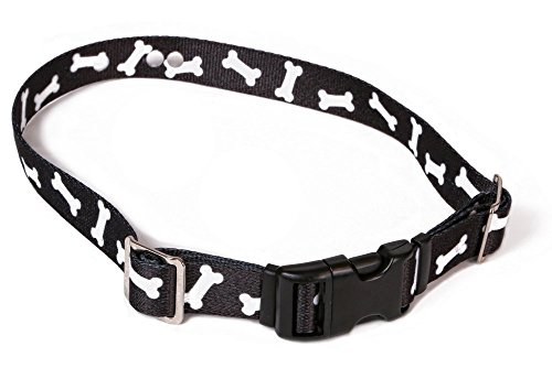 (Invisible Fence Collar Compatible Heavy Duty Replacement Strap with the Rugged Lock-Easy Release Clip - Black Bones | Large Up to 26