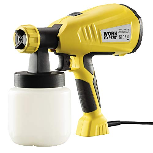 Work Expert Electric Paint Sprayer Wall & Fence Spray Gun, 2m Cable, 4 Nozzles & 3 Spray Patterns (650W)
