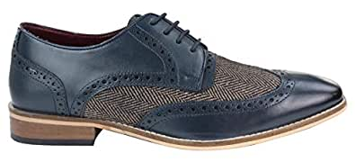 House Of Cavani Mens Leather Gatsby Brogues Tweed Lace Shoes 1920s Peaky Blinders Classic Navy