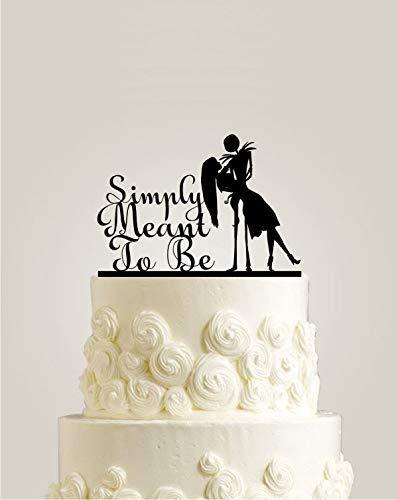 Simply Meant To Be Nightmare Before Christmas Jack Skellington Cake Topper Jack and Sally Halloween Wedding Cake Topper ()