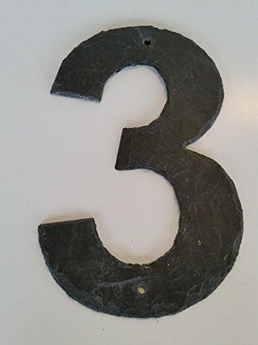 Zahlen aus Schiefer gearbeitet 3 Hausnummer 25cm mit Lochung und VA Befestigungsmittel