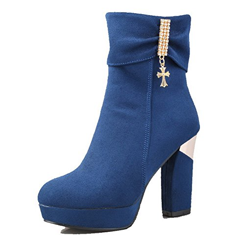 Allhqfashion Women's High-Heels Frosted Low Top Solid Zipper Boots Blue zwtHYnl