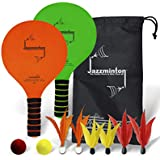 Jazzminton Deluxe – Pro Paddle Ball Game with LED Birdie to Play with at Night – 2 Paddles, 6 Birdies, 2 Balls, 1 Carry Bag for All Your Racquet Game Needs – Indoor/Outdoor Game for Kids and Adults