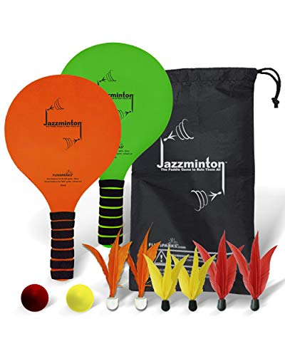 Jazzminton Deluxe - Paddle Ball Game with LED Birdie to Play with at Night - 2 Paddles, 6 Birdies, 2 Balls, 1 Carry Bag for All Your Racquet Game Needs - Indoor/Outdoor Game for Kids and Adults