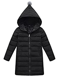 SLUBY Girls Long Down Jacket Winter Hooded Slim Puffer Coat with Zipper 3T-12Y