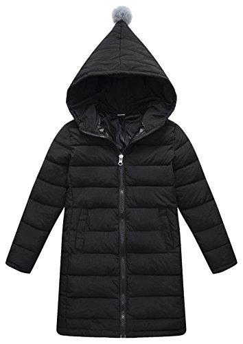 ket Winter Hooded Padding Coat With Zipper Windproof Outwear 3T-12Y (130CM(6Y-7Y), Black) (Girls Long Winter Coat)