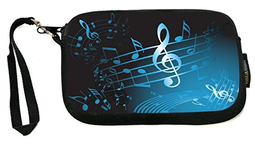 Music Coin Purse (Rikki Knight Blue Music Notes Sheet - Neoprene Clutch Wristlet Coin Purse with Safety Closure - Ideal case for Cosmetics Case, Camera Case, Cell Phones, Passport, etc..)