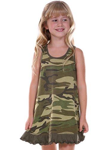 Kavio! Little Girls 3-6X Camouflage A-Line Tank Dress Camo Army Green 3