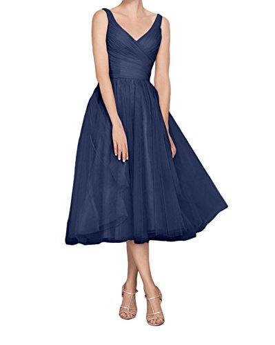 azul marino trapecio para mujer Vestido Topkleider 0qf4AOx