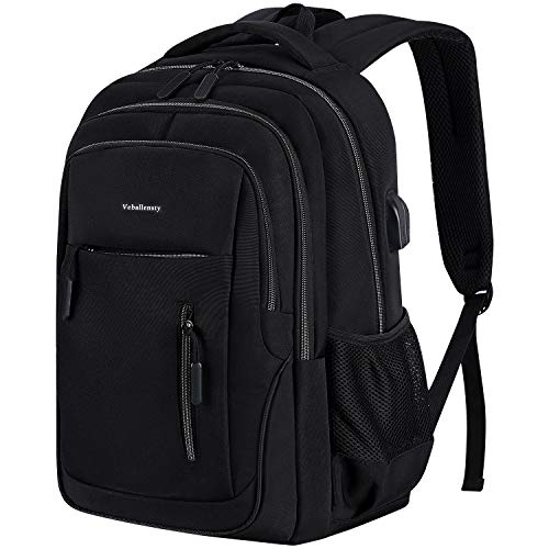 Veballensty 17.3 Inch Travel Laptop Backpack, Anti-Theft College School Computer Bookbag with USB Chargering Port Fits Women& Men for School Travel Business - Inch 17.3 Laptop Black