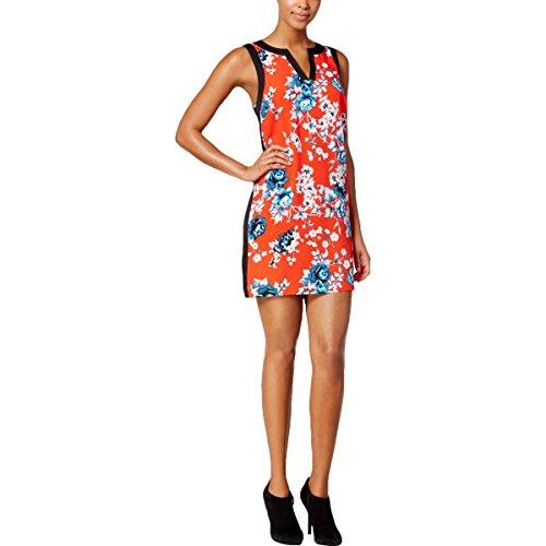 kensie Women's Split-Neck Floral-Print Dress (X-Large, Fire (Fire Floral Print Dress)
