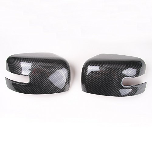 Pair With Turn Lights ABS Rearview Side Mirror Cover Decor Frame for Jeep Renegade 2015 2016 2017 (carbon fiber grain)