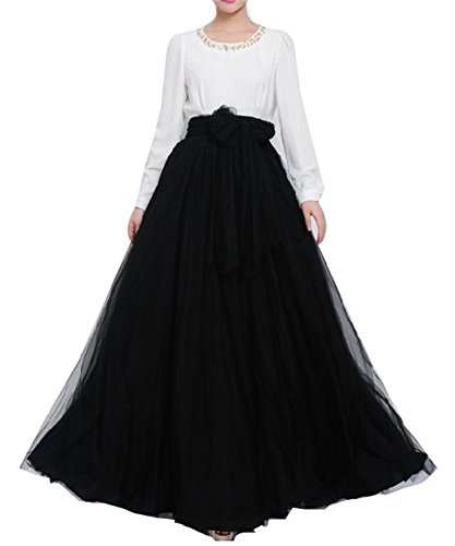 Women Floor Length Long Maxi Puffy Tulle Skirt A Line with Bowknot Belt High Waisted for Wedding Party Evening (Black, Plus Size) ()